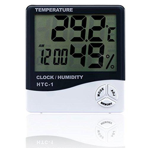 Newin Star HTC-1 Moniteur d'humidité de température, Hygromètre avec écran LCD multifonction et hygromètre pour intérieur et extérieur