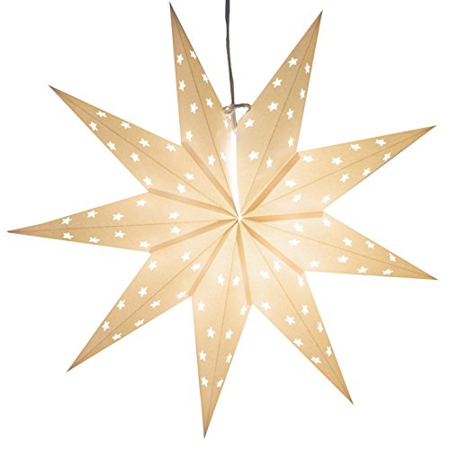 9 Pointed White Paper Star Lantern with 12 Foot Power Cord Included