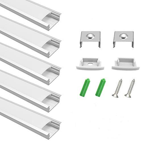 Perfil de aluminio LED, 10 x 1 metro de aluminio, perfil U-forma,...