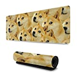 Mr Doge Meme Print Extended Gaming Mouse Pad with Stitched Edges, Non-Slip Rubber Base Waterproof Mousepad Keyboard Pad Desk Mouse Mat,11.8x31.5 in