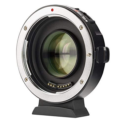 VILTROX EF-M2II Autofokus Objektiv-Adapter 0,71x Speed-Booster für Canon EF Objektiv auf M4/3 Kameras GH4 GH5 GF6 GF1 GX1 GX7 GX85 E-M5 E-M10 E-M10II E-PL5 Pen-F