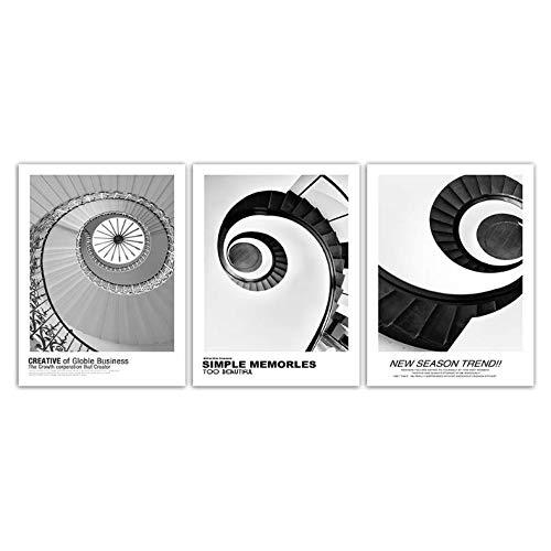 Carteles Escaleras de caracol gris negro Imágenes Cotizaciones modernas Lienzo Arte de la pared Pinturas para sala Decoración para el hogar 50x70cm Sin marco