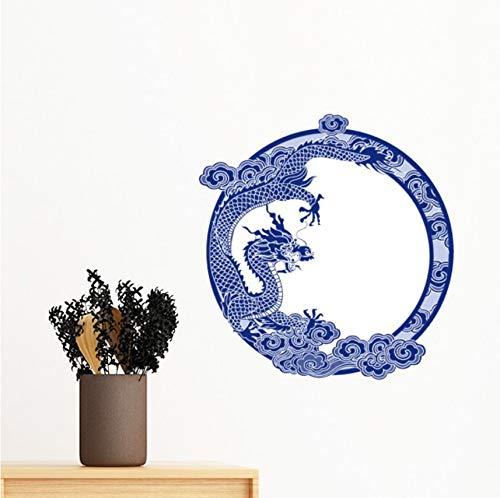 Kyzaa Muurstickers, Chinese cultuur, blauwe draak, afneembaar, muurstickers, muurstickers, voor kinderkamer