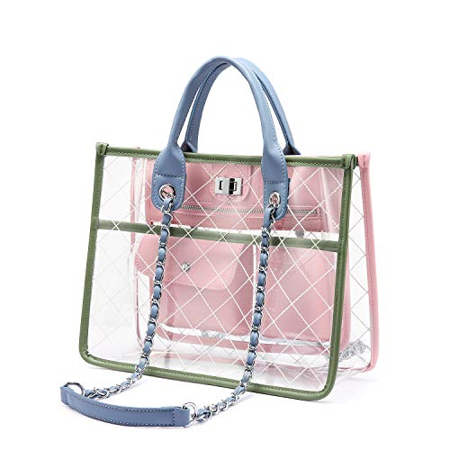 ❤EYE-CATCHING DESIGN- Personality rhombic + PVC leads to fashion trends: collision of ice cream color, refreshing sweet wind, the visual comfort, the full summer style ❤PRACTICALITY - Use as a handbag or single shoulder bag. Perfect for your daily us...