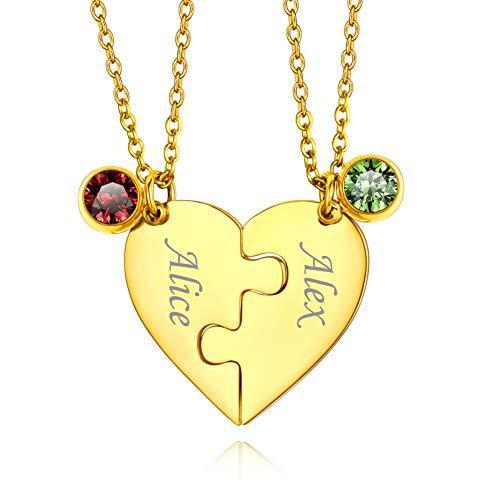 Custom4U Collares Nombres Personalizados para Novios Colgante Romántico Corazón Roto 2 Piezas con Piedras Coloradas Material Dudadero Acero Inoxidable 316L