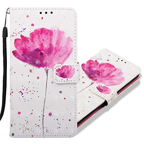MRSTER LG V40 ThinQ Handytasche, Leder Schutzhülle Brieftasche Hülle Flip Hülle 3D Muster Cover Stylish PU Tasche Schutzhülle Handyhüllen für LG V40 ThinQ. YB Red Flower