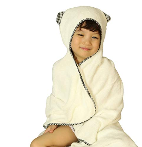 Organic Bamboo Hooded Baby Towel & Washcloth Set - Soft, Bath Robes, Robe with Hood for Babies, Toddlers, Kids - Toddler Large and Small Towels for Boy or Girl - Best Shower Gift to Boys and Girls