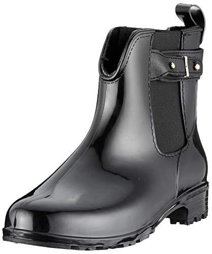 Bequeme Damen Stiefeletten Gummistiefel Lack Schuhe 144483 Schwarz Schnallen 37 EU Flandell
