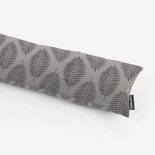SCHÖNER LEBEN. Zugluftstopper Blätter grau schwarz silberfarbig Glitzer Verschiedene Größen, Auswahl:110cm Länge