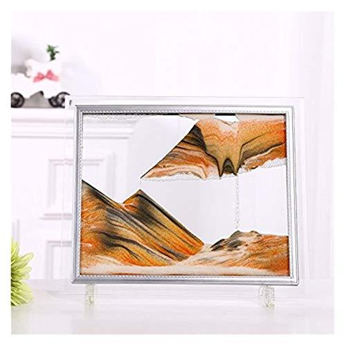 Jszzz Rechteck Glasrahmen Sand Bild 3D abstrakte Vision Gelb Reibungslos bewegen Bewegung Sand Sanduhr Gemälde fo