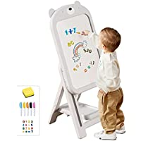 mloong Instant Kids Height Adjustable Art Easel with 16-Pc Number Magnets