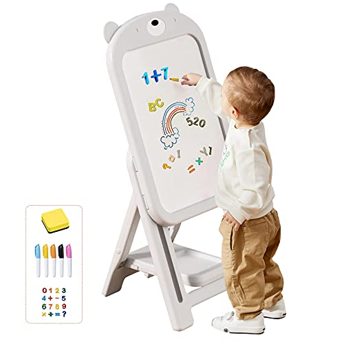 mloong Instant Kids Easel, Height Adjustable Art Easel, Magnetic Dry Erase Board with 16 pcs Number Magnets, Standing Drawing Whiteboard with 6 pcs Watercolor Pen for Toddlers