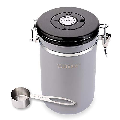 Schramm® Kaffeedose 1800 ml in 10 Farben mit Dosierlöffel Höhe: 18cm Kaffeedosen Kaffeebehälter aus Edelstahl, Farbe:grau