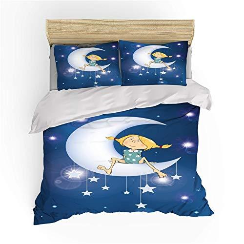 DWSM - Funda de edredón, diseño de ángel sobre luna, diseño de estrellas con estrellas y dibujos animados de microfibra, ligero y cómodo (7,220 x 260 cm)