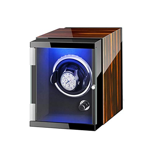 GLXLSBZ Caja enrolladora automática de un Solo Reloj con Luces de Colores Fuente de alimentación Dual Almohadillas Flexibles para Relojes Motor silencioso (Color: A)