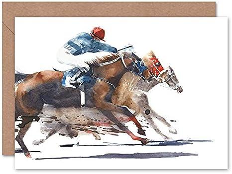Wee Blue Coo Tarjeta de felicitación con sobre, diseño de caballos de carreras con jockey