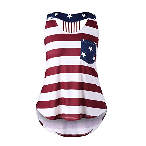 Toimothcn Womens American Flag Swing Tank Tops Vest Sleeveless O Neck Pocket Stripe Tunic Tops(Multicolor,3XL)