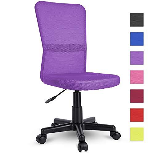 TRESKO Silla de Oficina Escritorio giratoria, Disponible en 7 Variantes de Colores, con Ruedas para Suelos Duros, Regulable en Altura de Forma Continua, Respaldo ergonomico (Purpura)