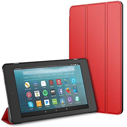JETech Case for Amazon Fire 7 Tablet (7th Generation 2017 Release Only) Smart Cover with Auto Sleep/Wake (Red)