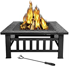 LEMY 32 inch Outdoor Square Metal Firepit Backyard Patio Garden Stove Wood Burning BBQ..