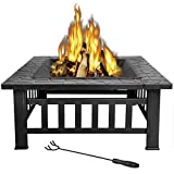 LEMY 32 inch Outdoor Square Metal Firepit Backyard Patio Garden Stove Wood Burning BBQ Fire Pit with Rain Cover, Faux-Stone Finish