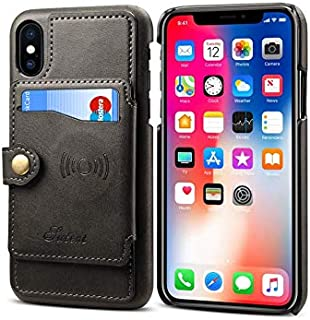 For iPhone XS Max leather case men Wallet cover with Credit Card Holder Shockproof Bumper Phone Cover,Black