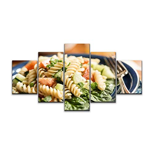 5 panels Wall Art Print On Canvas rotini pasta salad with spinach noodles stock pictures royalty free Modern Abstract Picture Poster for Home Decor Stretched and Framed Ready to Hang (60''Wx32''H)