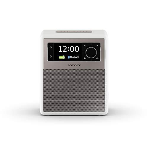 sonoro Easy Radio mit Bluetooth und DAB Plus (tragbar, UKW/FM, Wecker, Sleep-Timer, Nachtlicht, Akku/Batterie/Netzbetrieb) Design Digitalradio in Weiß