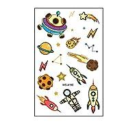 子供のためのスペースタトゥー、子供の男の子女の子の誕生日パーティーの好意のための宇宙船の太陽系宇宙飛行士の宇宙での10枚宇宙一時的なステッカー,Wsa190