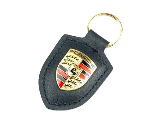 Porsche Llavero original con el escudo de la marca, color negro