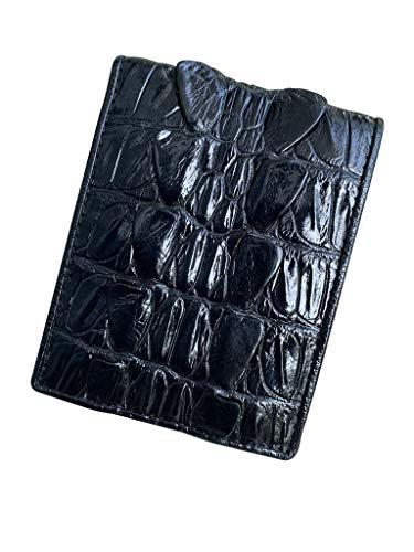 Cartera clásica de piel de cocodrilo con diseño de cola de cocodrilo, para hombre, interior y exterior, hecha de piel de cocodrilo real, diseño vintage de color negro para más varonil.