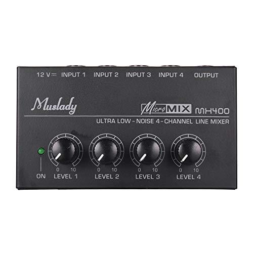 Muslady Mezclador de Audio Linea Mono 4 Canales Ruido Bajo Ultra Compacto con Adaptador de Corriente