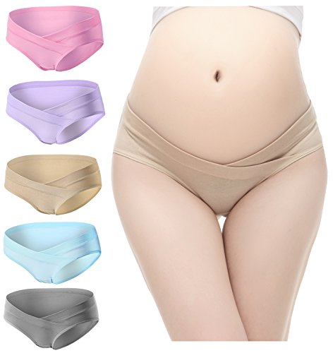 PIDAY Women's Under the Bump Cotton Maternity Hipsters Panties Multi Pack, 5 Pack Beige/Blue/Pink/Purple/Grey, Label L / US S