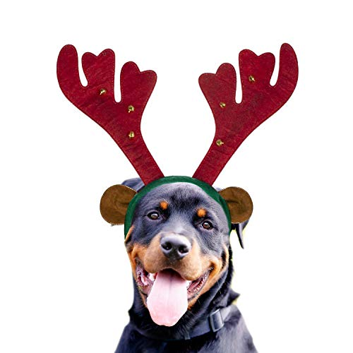 Dog Reindeer Antlers Headband Costume - Perfect Dog Christmas Outfit for Holiday Family Photo - http://coolthings.us