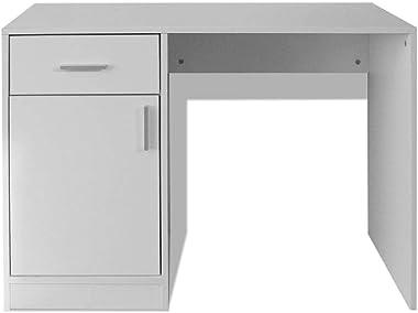 SKM Bureau avec tiroir et Placard 100x40x73 cm Blanc-058