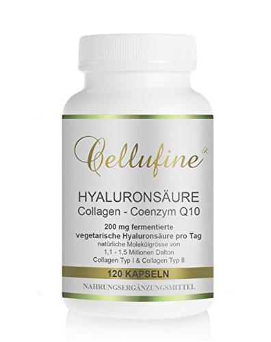Cellufine® HyaVita® hochdosierte Hyaluronsäure-Kapseln zum Schlucken I 120 Kapseln I Hyaluronsäure-Kapseln mit Collagen-Peptiden & Coenzym Q10