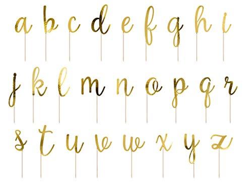 Tortendeko gold einzelne Buchstaben 53-tlg. / Cake Topper Geburtstag Hochzeit