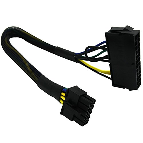 COMeap 24 Pin to 10 Pin ATX PSU Main Power Adapter Braided Sleeved Cable for IBM Lenovo PCs and Servers 12-inch(30cm)