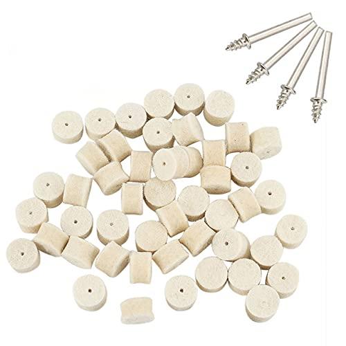50 piezas 13 mm fieltro de lana pulido rueda de pulido almohadilla abrasiva de pulido + 4 piezas de vástagos de 3,2 mm para herramienta rotativa taladro eléctrico-blanco