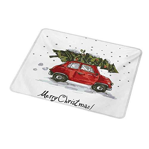 Maus Padlarge Weihnachten, rote Retro-Art Auto Weihnachtsbaum Vintage Family Style Illustration verschneite Winterkunst, rotes Gr眉n f眉r Laptops