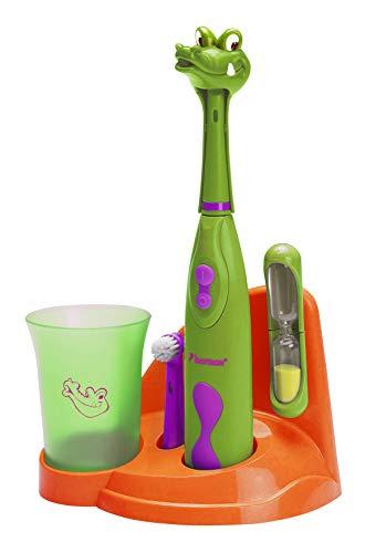 """Bestron Spazzolino da denti elettrico per bambini """"Crazy Croc"""", Con bicchiere per risciacquo, clessidra e base, Funzionamento a batteria, Verde"""