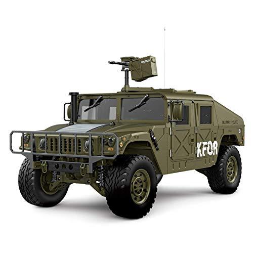 WGFGXQ Coche RC, Camión Militar de Control Remoto de 2.4G 4WD 16CH 30km/h Modelo de automóvil RC, Modelo de camión Militar US4X4 de simulación 1:10 con Motor de escobillas 550 -
