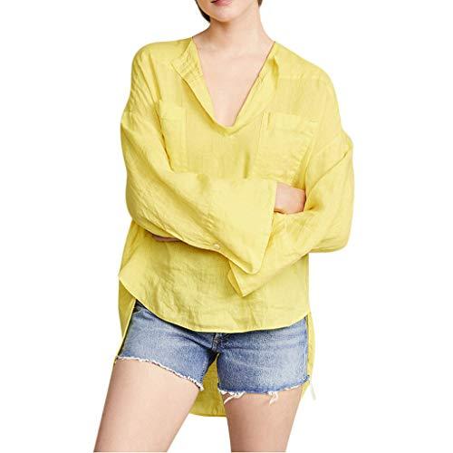 SHINEHUA linnen blouse dames linnen blouse elegant lange mouwen vrijetijdsbovendeel casual linnen shirt basic lange mouwen herfst longshirt tops bovenkant tuniek hemd blousenshirts X-Large geel