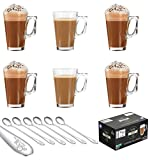 EVER RICH  Latte Glass Tea Coffee Cup Mug (Fits Tassimo & Dolce Gusto) Set of 6 Glasses (6 x 240ML & Spoons)