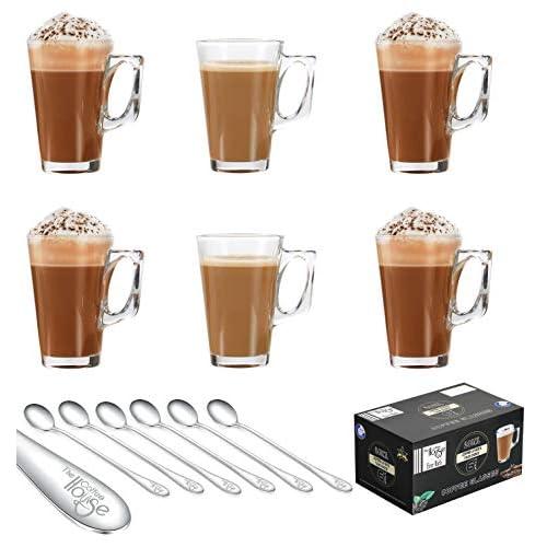 EVER RICH® Bicchieri Latte caffè Tazza da tè (Fits Tassimo e Dolce Gusto) (240ML + Spoons)
