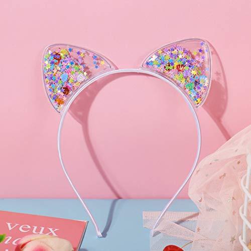 TseenYi Diadema de moda tocado antideslizante orejas de gato con horquillas de papel floral lindo tocado accesorio para el cabello Joyería para mujeres y niñas (blanco)