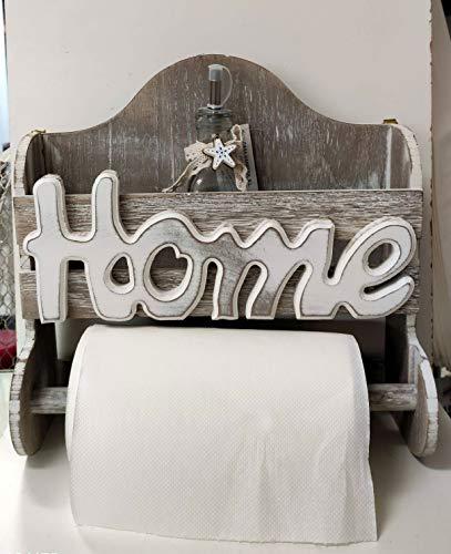 Portarrollos de cocina de pared de madera natural con texto 'HOME'