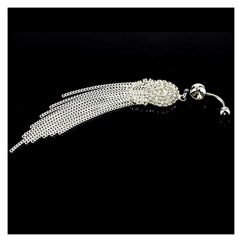 MENGzhuHSA Moda 1 unids Anillo de Botones de la Borla Larga de Moda con Rhinestone Colgante Redondo Acero quirúrgico Ombligo Ombligo Piercing Bell Stud Jewelry Anillo en el Ombligo