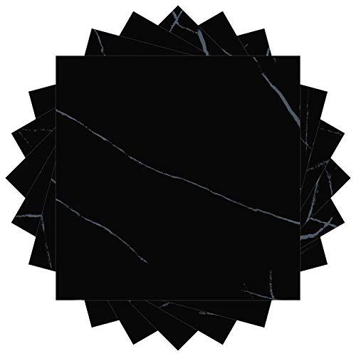 Tapeten Vliestapete Waterproof Floor Stickers Removable Wall Ground Tiles Pvc Contact Paper Self-Adhesive For Kitchen Bedroom Living Room Home Decor-Jazz_Black_10_Pieces