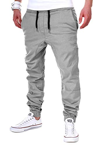 behype. Herren Chino-Hose Stretch Low Crotch Basic Jeans-Hose 80-0006 Hellgrau XL/W36